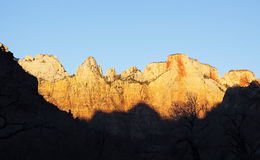 Sunrise colors in the mountains, Zion canyon Stock Photo