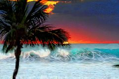 Sunrise Colors Spring from the New Sun Off the South Florida Beach. The sun at sunrise sends a ray of sunshine through the morning waves as they collide with Royalty Free Stock Images