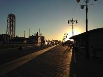Sunrise on Coney Island Boardwalk. Sunrise on Coney Island Boardwalk in Brooklyn, New York, NY Stock Photography
