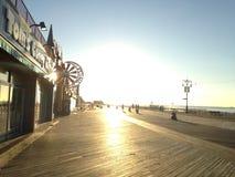 Sunrise on Coney Island Boardwalk. Sunrise on Coney Island Boardwalk in Brooklyn, New York, NY Stock Images