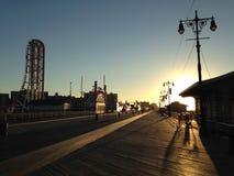 Sunrise on Coney Island Boardwalk. Sunrise on Coney Island Boardwalk in Brooklyn, New York, NY Stock Image