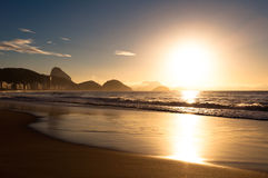 Sunrise in Copacabana Beach Stock Photo