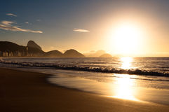 Sunrise in Copacabana Beach Stock Photos