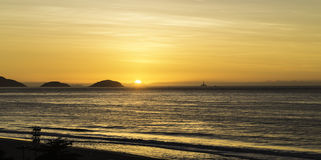 Sunrise at Copacabana Beach, Rio de Janeiro, Brazil - South America Stock Photography