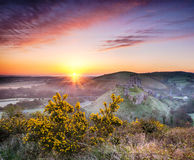 Sunrise at Corfe Castle Stock Photos