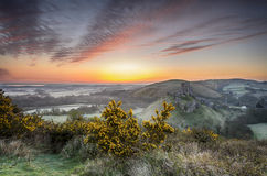 Sunrise at Corfe Castle Stock Image