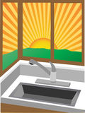 Sunrise through corner windows near sink Royalty Free Stock Photos