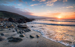 Sunrise on the Cornish Coastline Stock Photos