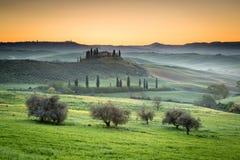 Sunrise on countryside, Tuscany, Italy Royalty Free Stock Image