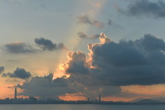 Sunrise covered by cloud. It's early at around 6am, the sun rose from the east part of Shenzhen, unfortunately it was covered by cloud royalty free stock photo