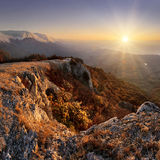 Sunrise at Crimea mountains Royalty Free Stock Images