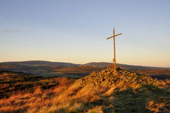 Sunrise cross hill top Royalty Free Stock Image