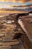 Sunrise at Cullercoats Bay. Stock Photos