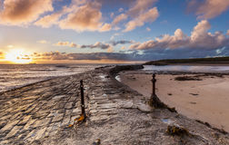 Sunrise at Cullercoats Bay. Stock Images