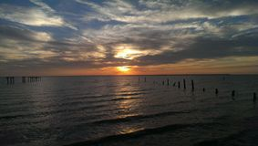 Sunrise. Dad& x27;s beach mobile bay Stock Photo