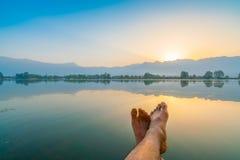 Sunrise on Dal lake, Kashmir India . Stock Photo