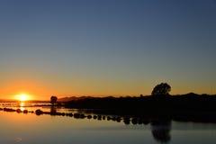 Sunrise At Dam Royalty Free Stock Photography