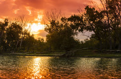 Sunrise in Danube Delta Stock Photography