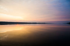 Sunrise on the Danube at Oriahovo, the border between Romania and Bulgaria Royalty Free Stock Image