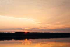 Sunrise on the Danube at Oriahovo, the border between Romania and Bulgaria Stock Images