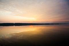 Sunrise on the Danube at Oriahovo, the border between Romania and Bulgaria Stock Photography