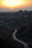 Sunrise in danxia landform Stock Photography