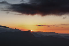 Sunrise with dark clouds, view from Lungthang view point, Sikkim. Sunrise , view from Lungthang view point, Sikkim Stock Photos