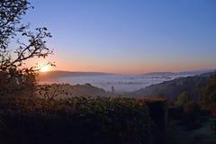 Sunrise on Dartmoor. UK  on a misty autumnal morning Stock Photo