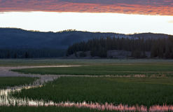 Sunrise Dawn over Pelican Creek and Yellowstone Lake in Yellowstone National Park in Wyoming Stock Image