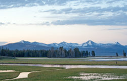 Sunrise Dawn over Pelican Creek and Yellowstone Lake in Yellowstone National Park in Wyoming. USA Royalty Free Stock Photos