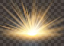 Sunrise, dawn. Vector transparent sunlight. Special lens flare light effect. royalty free illustration