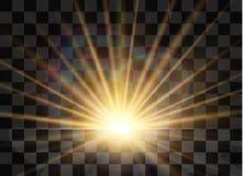 Sunrise, dawn. Vector transparent sunlight. Special lens flare light effect. stock illustration