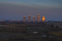 Sunrise in Delta of Bucharest stock image