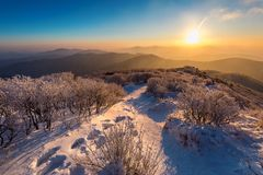 Sunrise on Deogyusan mountains covered with snow in winter,South Korea.  Stock Photos