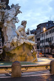 Sunrise and detail of Bernini fountain in Rome Stock Image