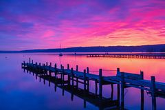 Sunrise in Diessen, Lake Ammersee. Bavaria, Germany Stock Photos
