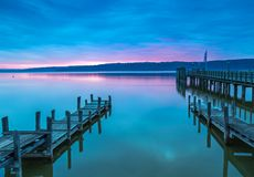 Sunrise in Diessen, Lake Ammersee. Bavaria, Germany Royalty Free Stock Images