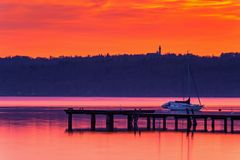 Sunrise in Diessen, Lake Ammersee. Bavaria, Germany Royalty Free Stock Image