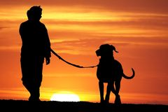 Sunrise Dog Walk. Silhouette of a young woman walking her great dane dog at sunrise Stock Photo