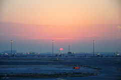 Sunrise in Doha Airport Royalty Free Stock Image