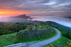 Sunrise at Doi Intanon National Park VIew point, Chiang Mai Thai Stock Photo