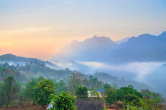 Sunrise at Doi Luang Chiang Dao, Chiang Mai as wallpaper backgro Stock Image