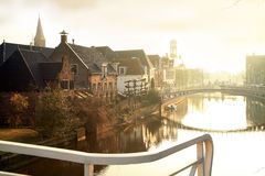 Sunrise in Dokkum. Netherlands. stock photos