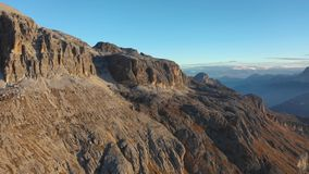 Sunrise in the Dolomites. Aerial view of mountains and valleys. South Tyrol and Trentino. Autumn in Italy stock footage