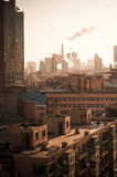 Sunrise at downtown of the Dalian Stock Images