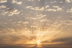 Sunrise with dramatic clouds at sky. Wallpaper and background stock photography