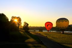 Sunrise Dresden, Germany. Hot air balloons lifting off for a beautiful sunrise Stock Image