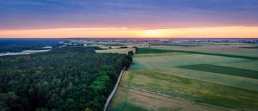 Sunrise from drone view Royalty Free Stock Image