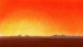 Sunrise in drought cracked desert. Stock Photography