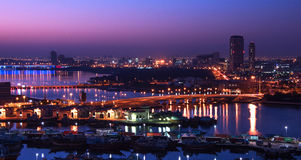 Sunrise of Dubai Creek. This image was taken on the roof of Hilton Dubai Creek Hotel during the morning time. There are 3 bridges in this picture and they are Stock Photos